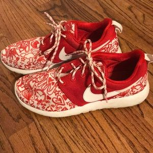 Super cute red/white Nike shoes!